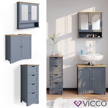 VICCO Badmöbelset 3 Bianco Grau (Waschtischunterschrank + schmaler Badschrank + Spiegelschrank)