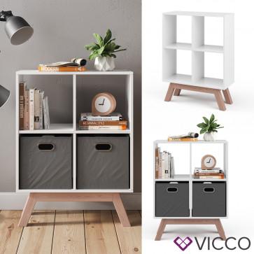 Vicco Raumteiler Tetra Weiß mit Fuß Teak