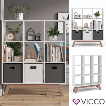 Vicco Raumteiler Nove Weiß mit Fuß Teak