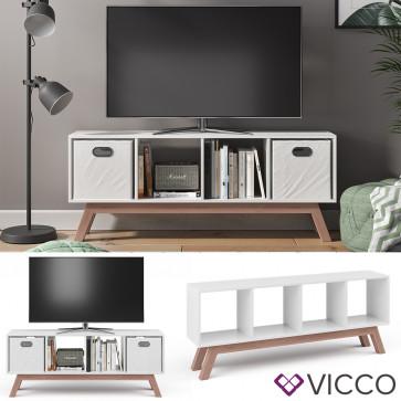 Vicco Raumteiler Ludus Weiß mit Fuß Teak