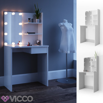 Vicco Schminktisch DEKOS Weiß mit LED-Beleuchtung