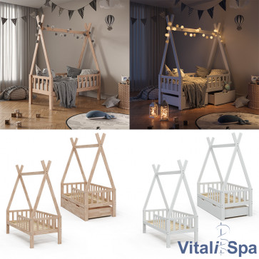 VitaliSpa Kinderbett Tipibett Rausfallschutz
