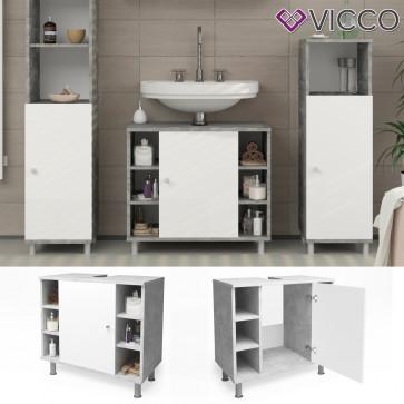VICCO Waschbeckenunterschrank FYNN 60 cm Grau Beton