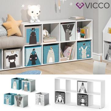 Vicco Kinderregal 8 Fächer inklusive Kinder Faltboxen