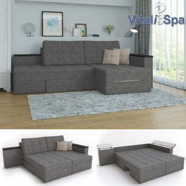VitaliSpa Ecksofa 3 Funktionen Grau Links