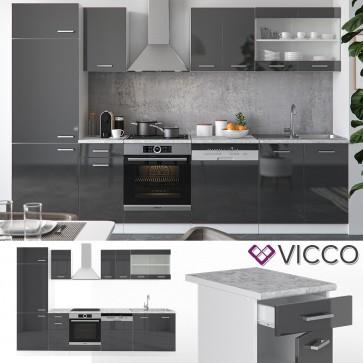 VICCO Küche R-Line 300 cm Anthrazit hochglanz