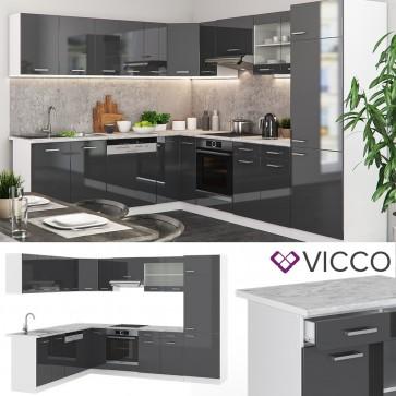 VICCO  Eck Küche R-Line Anthrazit hochglanz + Arbeitsplatten