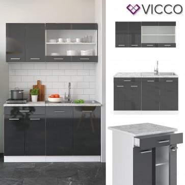 VICCO Küchenzeile SINGLE-Anthrazit Hochglanz