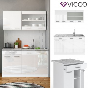 VICCO Küchenzeile SINGLE-Weiß Hochglanz