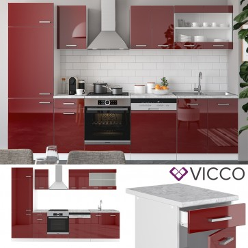 VICCO Küche R-Line 300 cm Rot Hochglanz