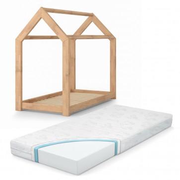 VICCO Kinderbett Kinderhaus natur 70x140 cm Holz Spielbett Hausbett mit Matratze