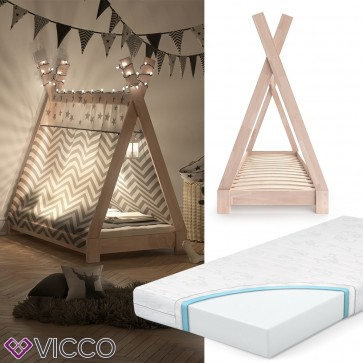 VICCO Kinderbett TIPI Indianer Bett Kinderhaus Zelt Holz Hausbett 70x140cm Natur inkl. Kindermatratze mit Komfortschaum-Kern