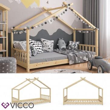 VICCO Hausbett DESIGN 90x200cm Holz Natur