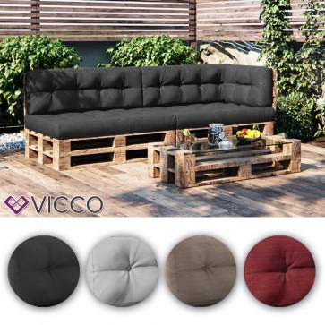 VICCO 5er Palettenkissen Set Sitzkissen Rückenkissen Palettenmöbel PU Schaum