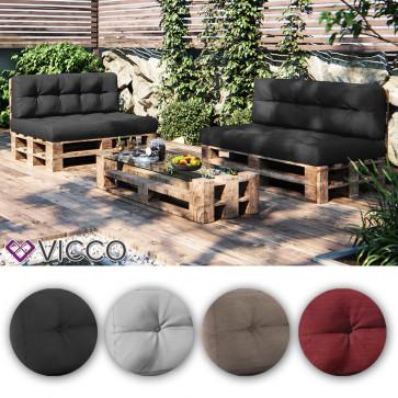 VICCO Palettenkissen Set Sitzkissen + Rückenkissen Palettenmöbel  PU Schaum