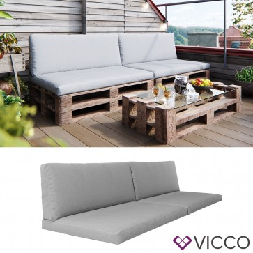Vicco 2er Set Palettenkissen Sitzkissen Rückenkissen Grau