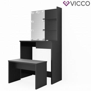 VICCO Schminktisch DEKOS Schwarz mit Bank und LED-Beleuchtung