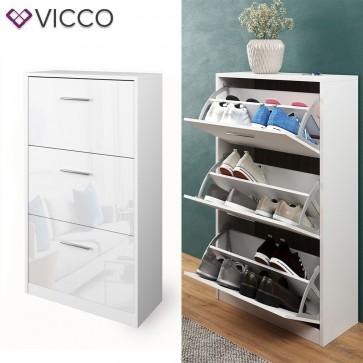 VICCO Schuhschrank Gizmo 3 Fächer in weiß hochglanz