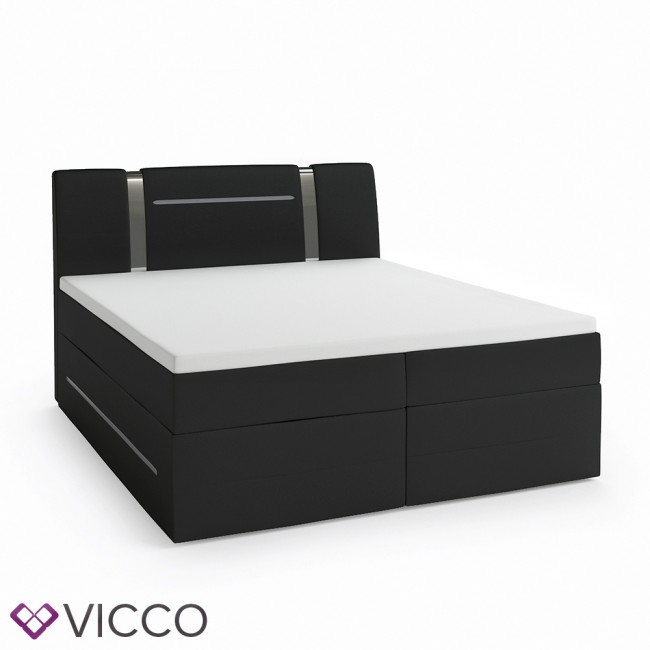 design boxspringbett mit led doppelbett ehebett schwarz. Black Bedroom Furniture Sets. Home Design Ideas