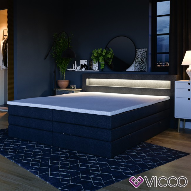 design boxspringbett mit bettkasten doppelbett ehebett schwarz led. Black Bedroom Furniture Sets. Home Design Ideas