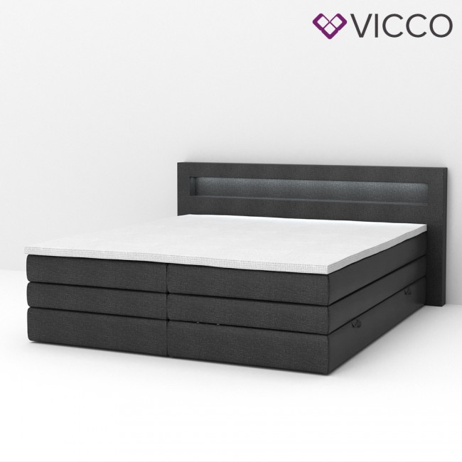 design boxspringbett mit bettkasten doppelbett ehebett schwarz led. Black Bedroom Furniture Sets. Home Design Ideas