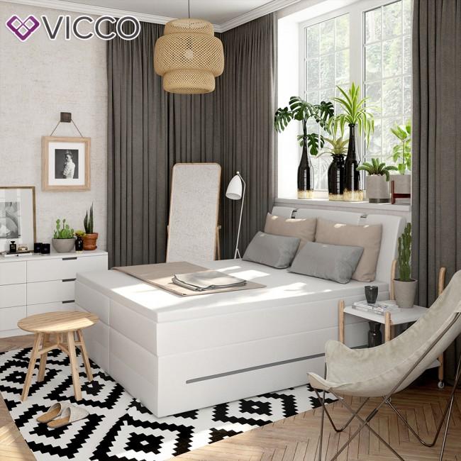 design boxspringbett mit led doppelbett ehebett wei. Black Bedroom Furniture Sets. Home Design Ideas