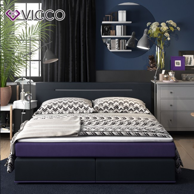 design boxspringbett mit led doppelbett ehebett 180x200 brombeere anthrazit. Black Bedroom Furniture Sets. Home Design Ideas