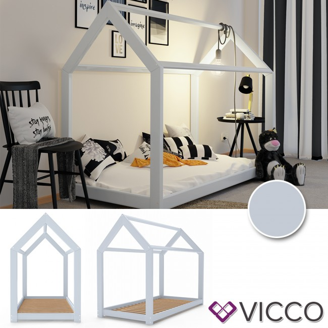 vicco kinderbett 90x200 cm kinderhaus massivholz bett hausbett inkl 7 zonen matratze grau lackiert. Black Bedroom Furniture Sets. Home Design Ideas