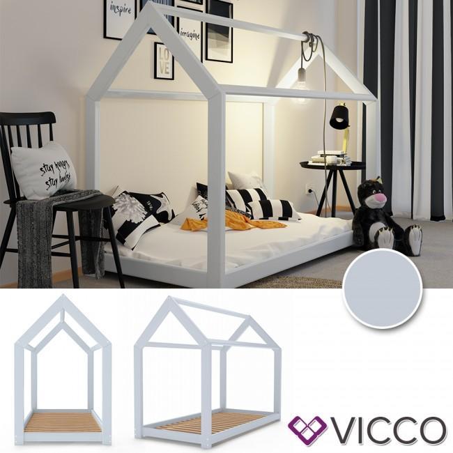 vicco kinderbett 90x200 cm kinderhaus massivholz bett. Black Bedroom Furniture Sets. Home Design Ideas