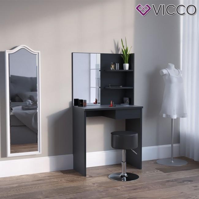 vicco schminktisch dekos schwarz mit hocker. Black Bedroom Furniture Sets. Home Design Ideas
