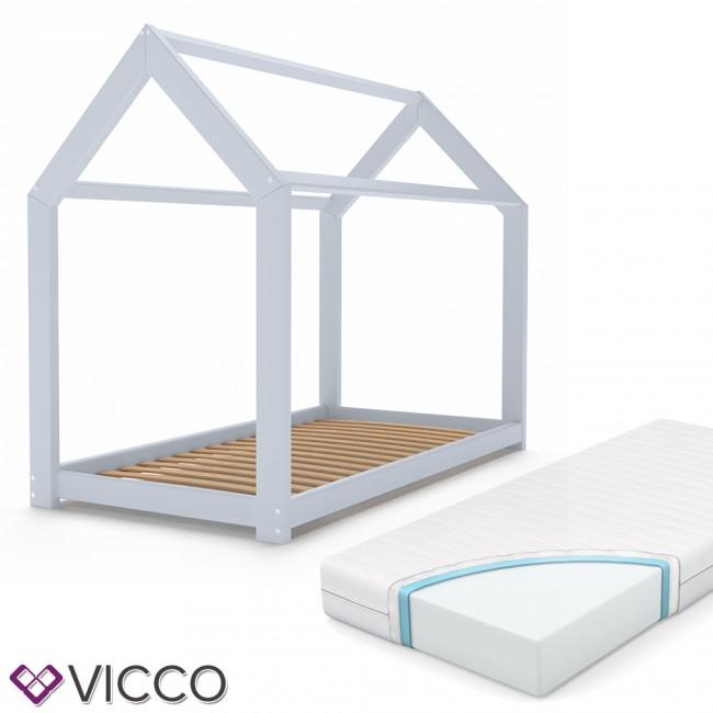 vicco kinderbett 90x200 cm kinderhaus massivholz bett hausbett inkl 7 zonen matratze grau lackiert. Black Bedroom Furniture Sets. Home Design Ideas