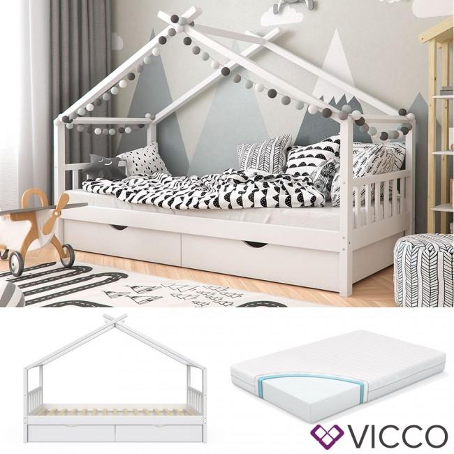 vicco kinderbett mit schubladen lattenrost matratze. Black Bedroom Furniture Sets. Home Design Ideas