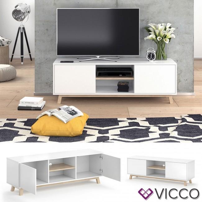 Vicco Lowboard Rico Fernsehkommode Hifi Kommode Tv Board Weiss Eiche