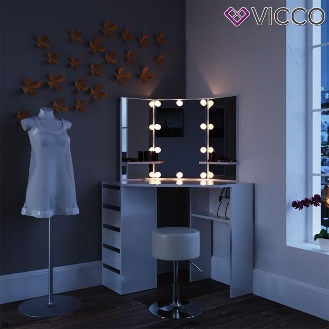 eck schminktisch arielle wei mit led und hocker. Black Bedroom Furniture Sets. Home Design Ideas