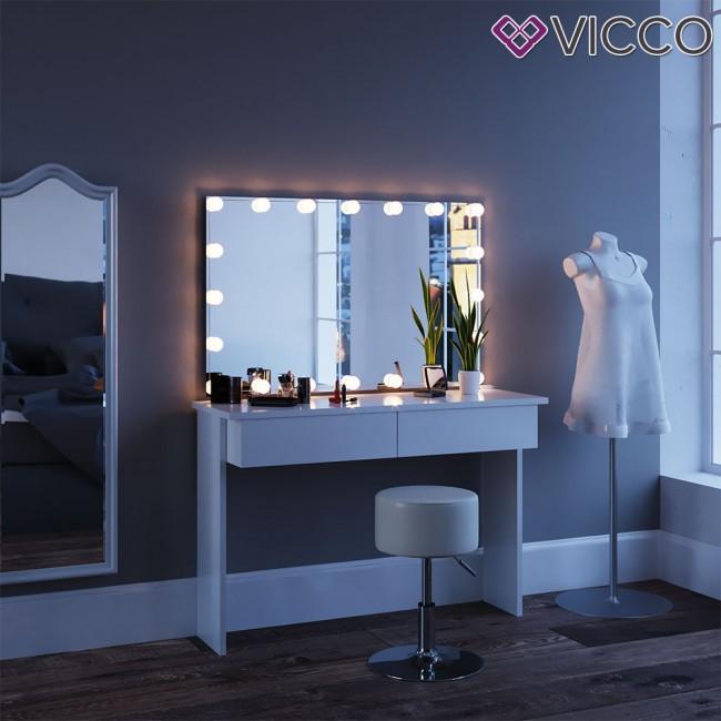 Schminktisch mit spiegel azur wei mit led beleuchtung for Schminktisch mit 3 spiegeln