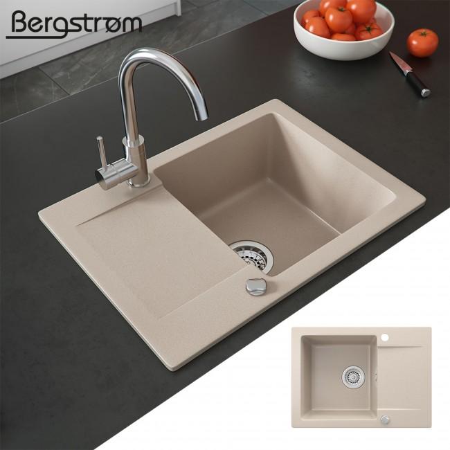 Bergström Spüle Küchenspüle Einbauspüle Spülbecken Granit Beige 577x418mm  Verbundwerkstoff