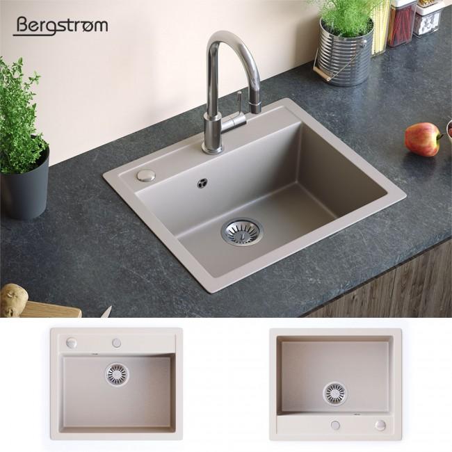 bergstroem sp le verbundsp le granit sp le k chensp le sp lbecken 590 x 500 mm siphon beige. Black Bedroom Furniture Sets. Home Design Ideas