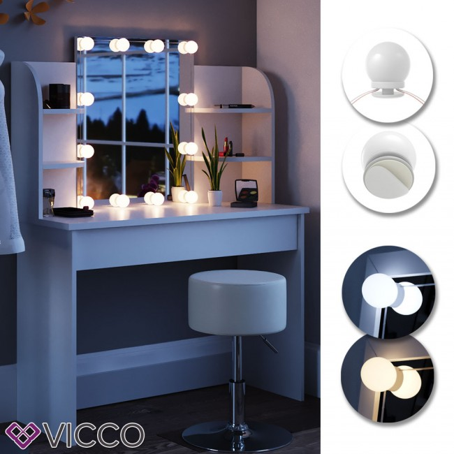 schminktisch charlotte mit led beleuchtung. Black Bedroom Furniture Sets. Home Design Ideas