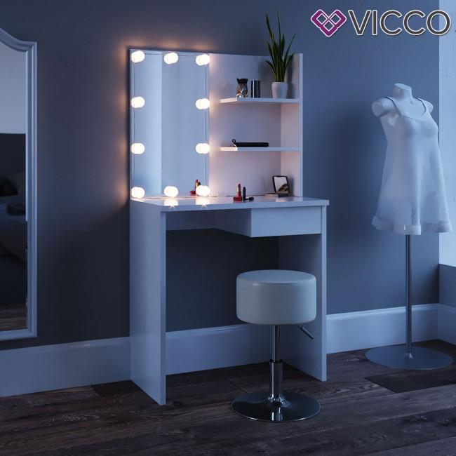 schminktisch kosmetiktisch dekos wei mit led beleuchtung. Black Bedroom Furniture Sets. Home Design Ideas