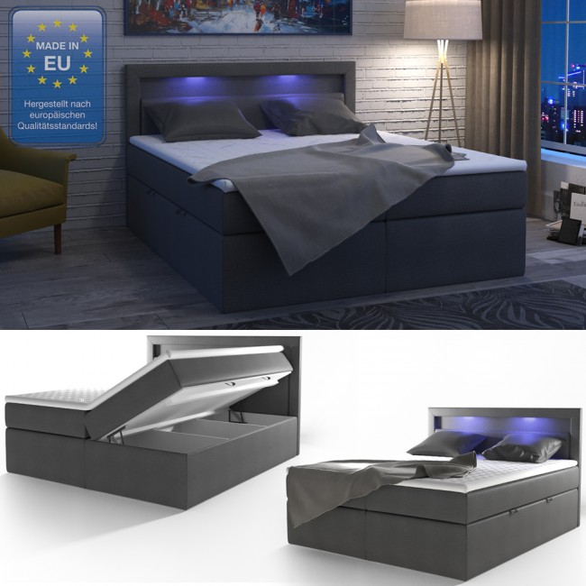 boxspringbett led doppelbett ehebett anthrazit. Black Bedroom Furniture Sets. Home Design Ideas