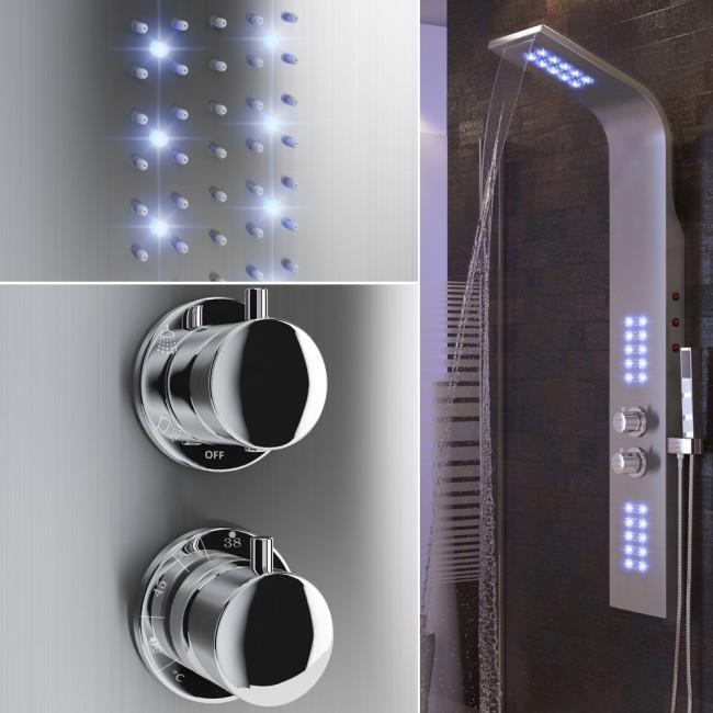 duschpaneel led beleuchtet inkl thermostat. Black Bedroom Furniture Sets. Home Design Ideas