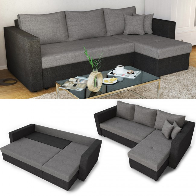 ecksofa mit schlaffunktion grau schwarz. Black Bedroom Furniture Sets. Home Design Ideas