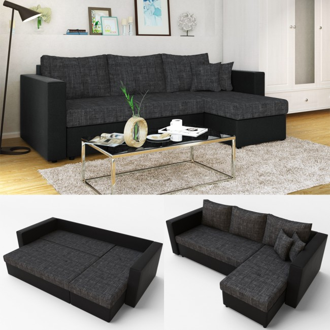 ecksofa mit schlaffunktion anthrazit schwarz. Black Bedroom Furniture Sets. Home Design Ideas