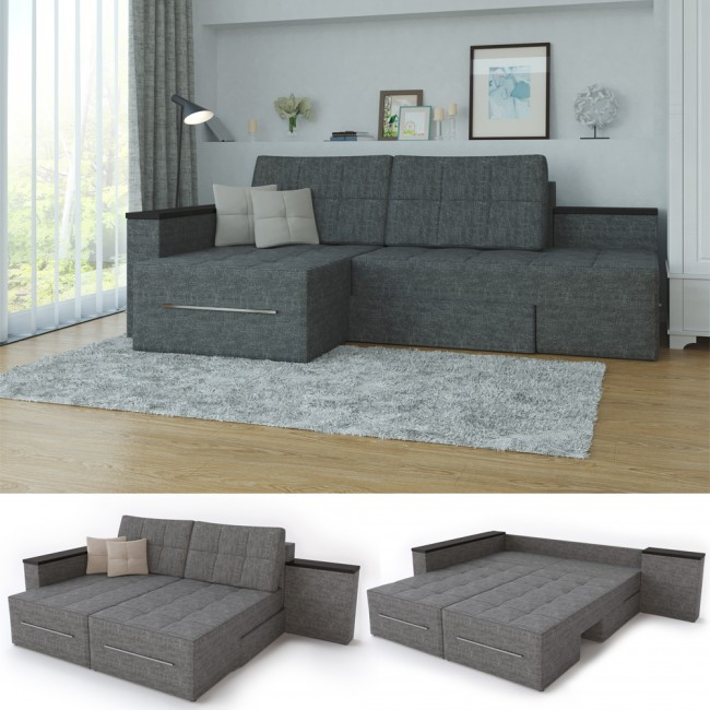 ecksofa 3 funktionen grau rechts. Black Bedroom Furniture Sets. Home Design Ideas