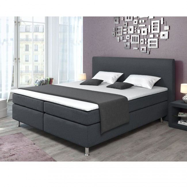 boxspringbett 180 x 200 grau. Black Bedroom Furniture Sets. Home Design Ideas