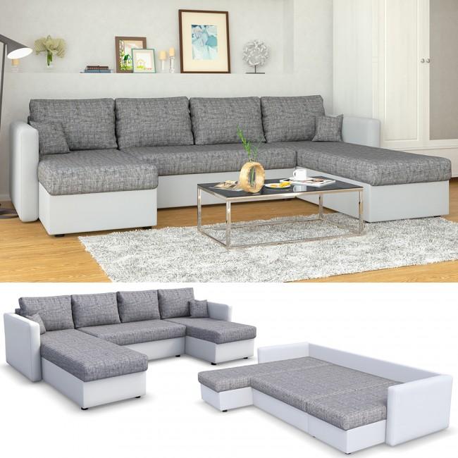 wohnlandschaft mit schlaffunktion wei grau. Black Bedroom Furniture Sets. Home Design Ideas