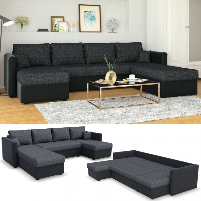 sofa mit schlaffunktion wohnlandschaft couch schlafsofa bettfunktion polsterecke. Black Bedroom Furniture Sets. Home Design Ideas