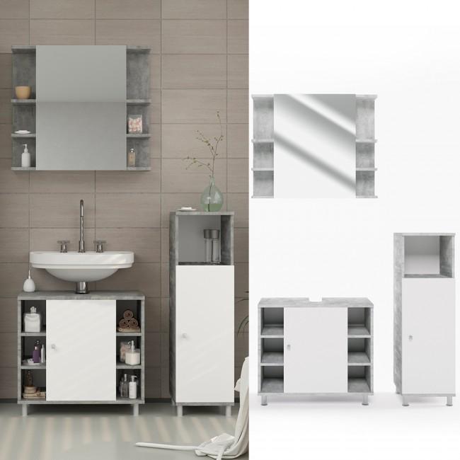 vicco badm bel set fynn 3 teile grau beton. Black Bedroom Furniture Sets. Home Design Ideas