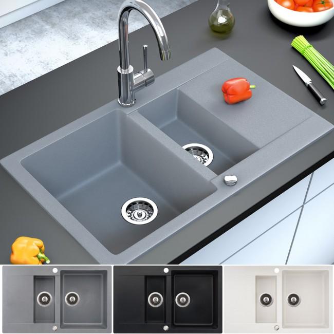 Küchen Granit Einbau Auflage Spüle doppel Spülbecken + Drehexcenter ...