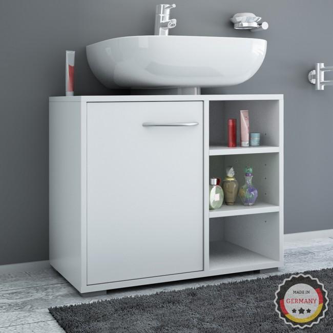 Waschtischunterschrank unterschrank bad badausstattung siphonausschnitt wei - Mobile sottolavabo copricolonna ...